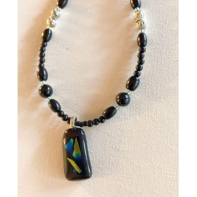 Black, green, & tan  Glass-fused Pendant Necklace
