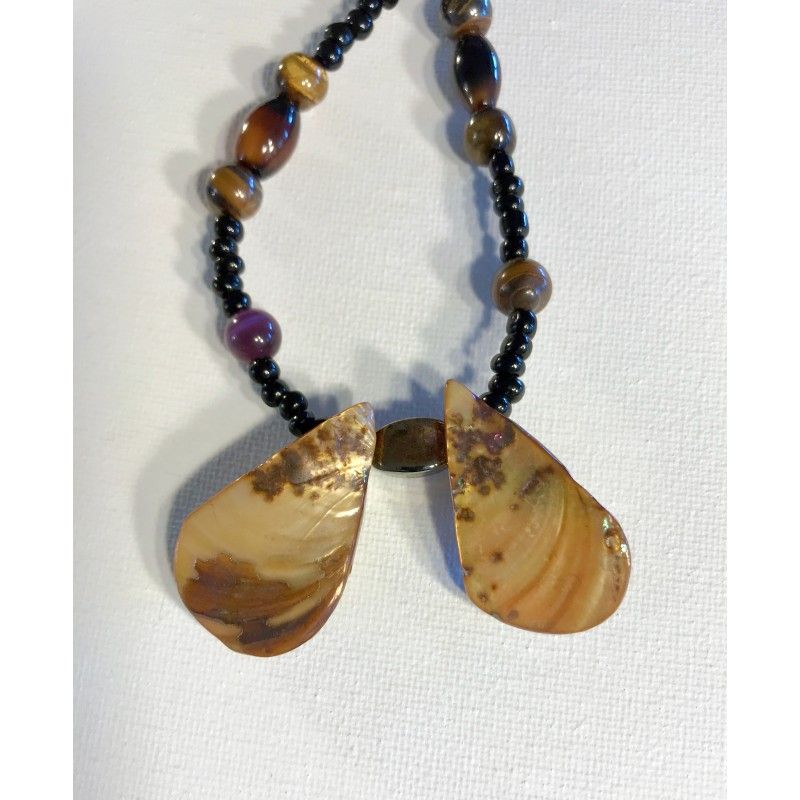 Tan  Shell & Tiger's Eye Beaded Necklace