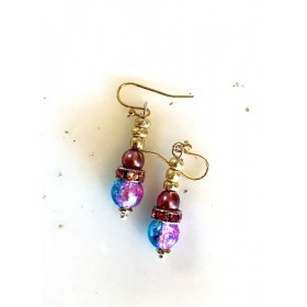 Multi colored Triple Glass Beaded Earrings