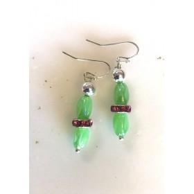Green & Multi-Color  Glass Beaded Earrings