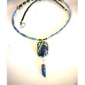 Black, green,  Glass-fused Pendant Necklace